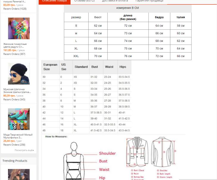 Размеры одежды на алиэкспресс детские
