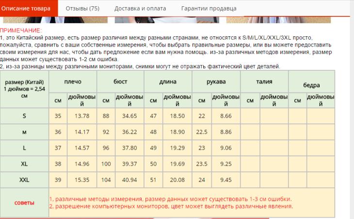 101f6f8ccc7c Таблица размеров Алиэкспресс на русском: китайские размеры на ...